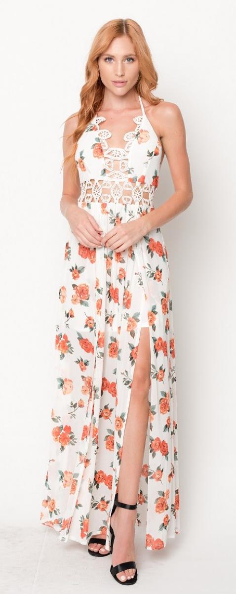 Power Mesh Floral Dress - 2 Colors!