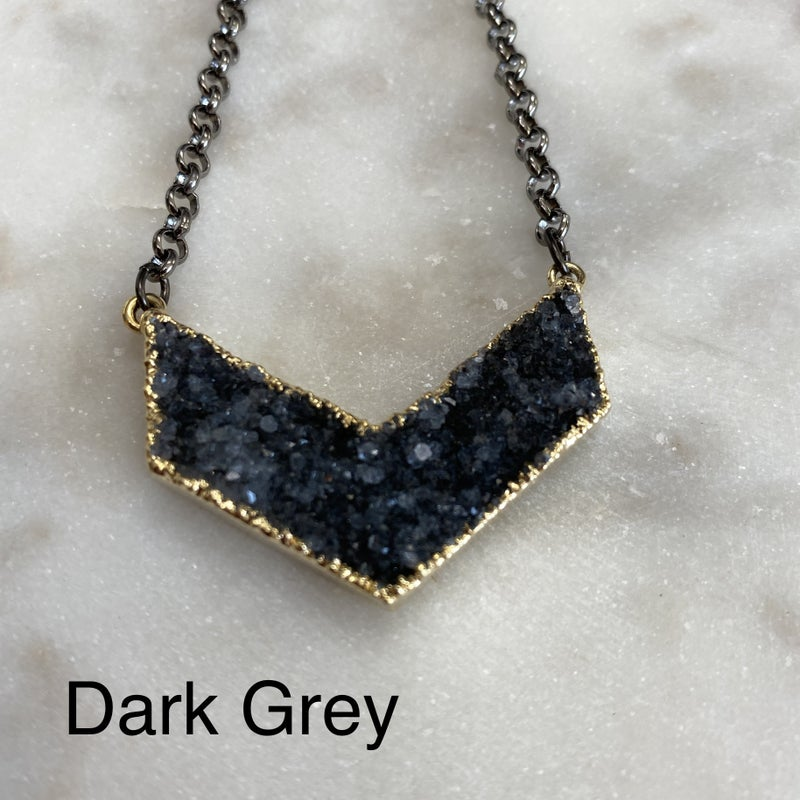 Custom Chevron Druzy Necklace - Gold (4 Colors)