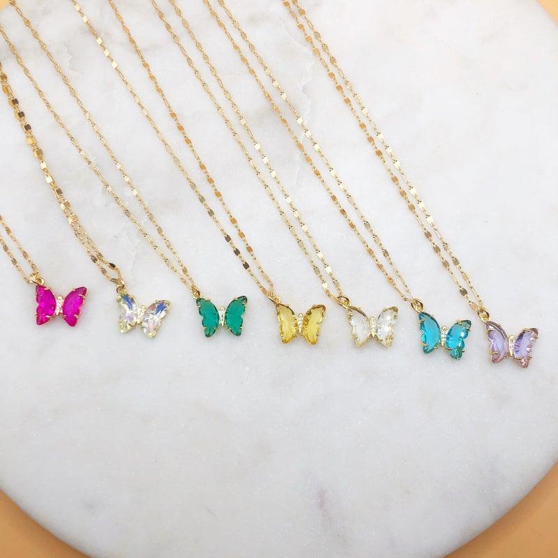 Love Poppy Butterfly On Fancy Necklace