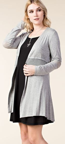 LONG SLEEVE CARDIGAN WITH MESH INSERT