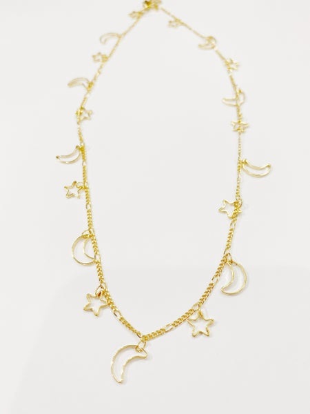 Star + Moon Dainty Necklace