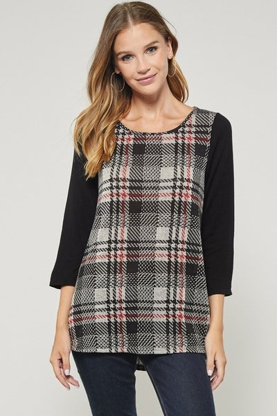 3/4 Solid Sleeve with Contrasting Plaid Top