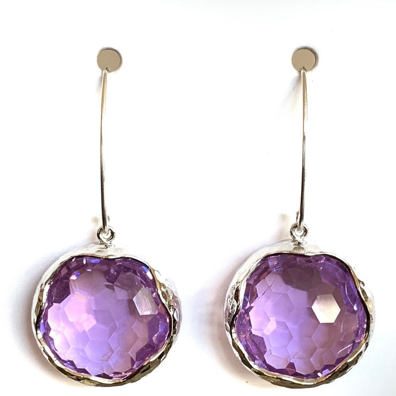Lavender/Silver Shine Bright Drop Gem Earrings