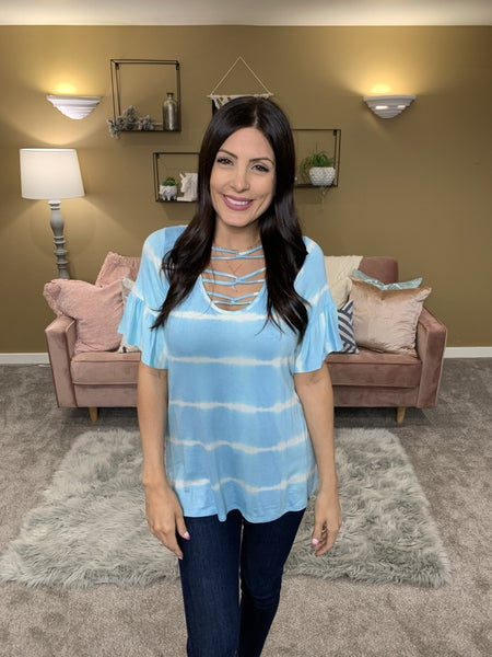 Double Bubble Tie Dye Top - Blue