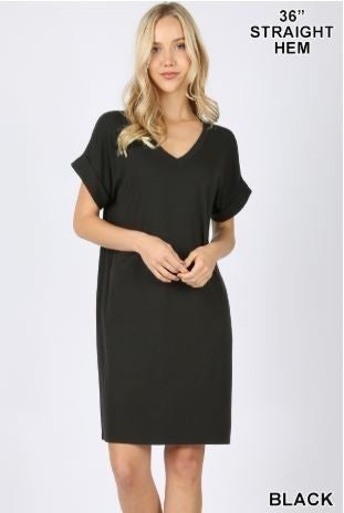 CUFFED SHORT SLEEVE DRESS
