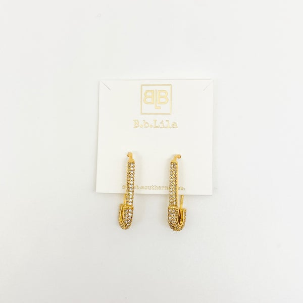 BB Lila Safety First Pave' Earrings
