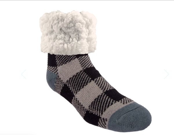 Pudu Grey Buffalo Plaid Slipper Socks