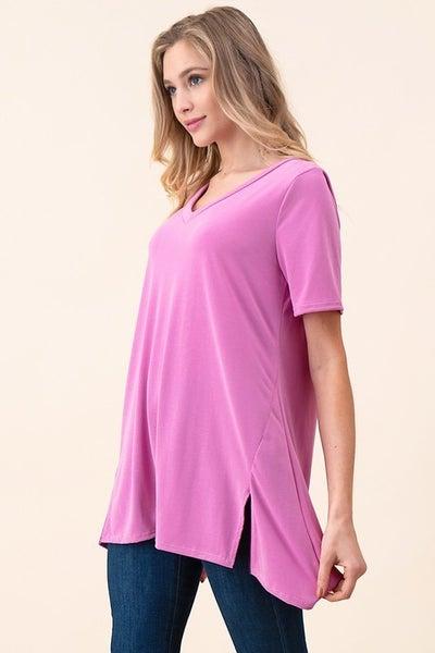 V-neck A-line Knit Tunic with Slits