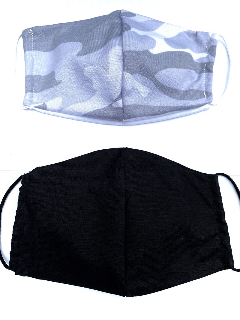 Grey Camo + Black Facial Masks  - 2 Pack!