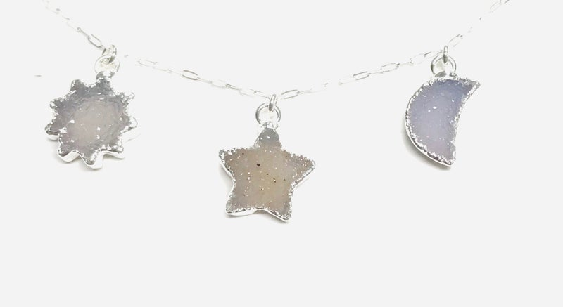 Druzy Star, Moon And Sun Necklace - 2 Colors!