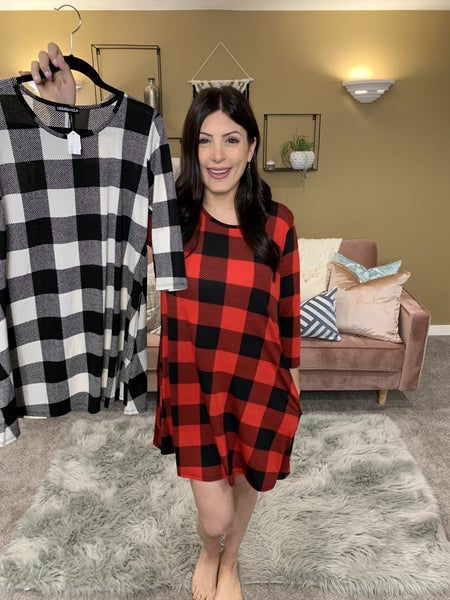 Fall Is In The Air Plaid Swing Dress