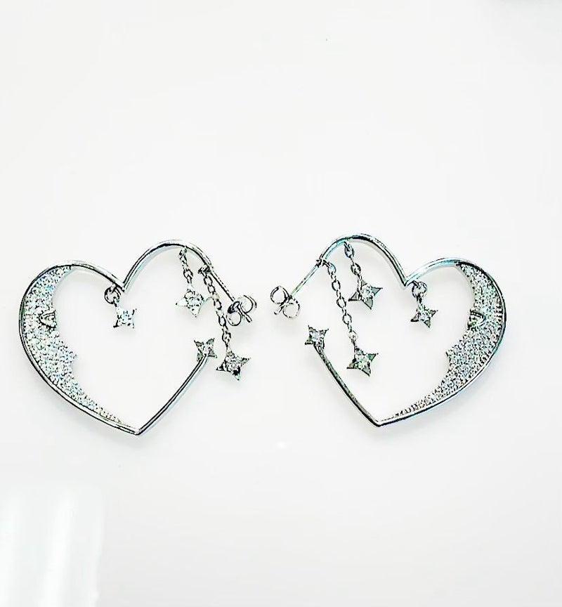 Melania Clara Moon Heart Earrings - Silver