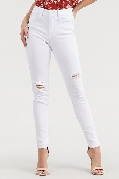 Judy Blue White High Waist Distressed Skinny Jeans