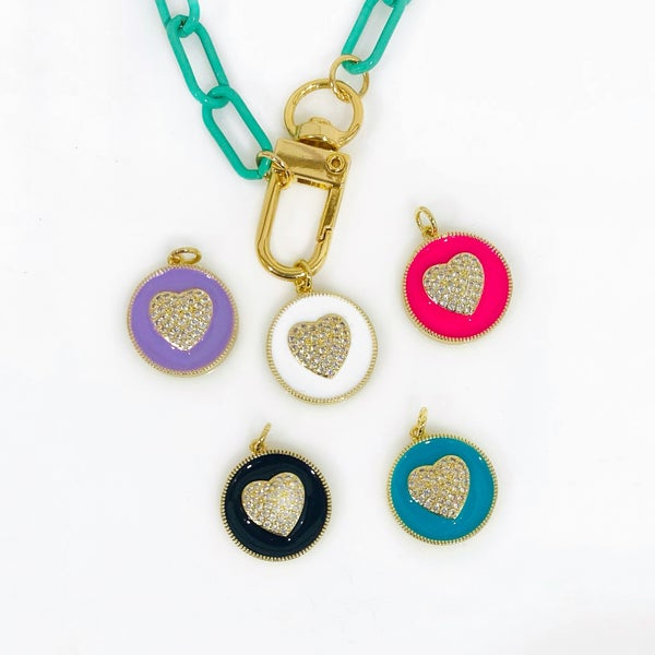 By Alexa Rae Heart Medal Charm - 5 Colors!