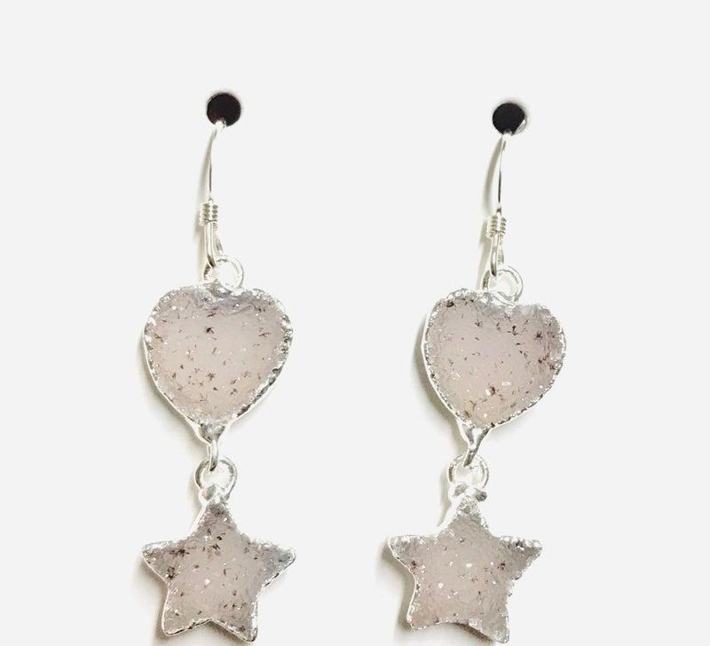 Silver Druzy Star & Heart Earrings - 4 Colors!