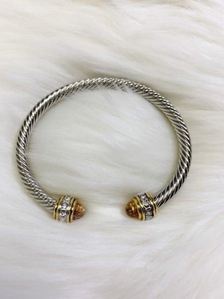 Silver Cuff Bracelet with Gems