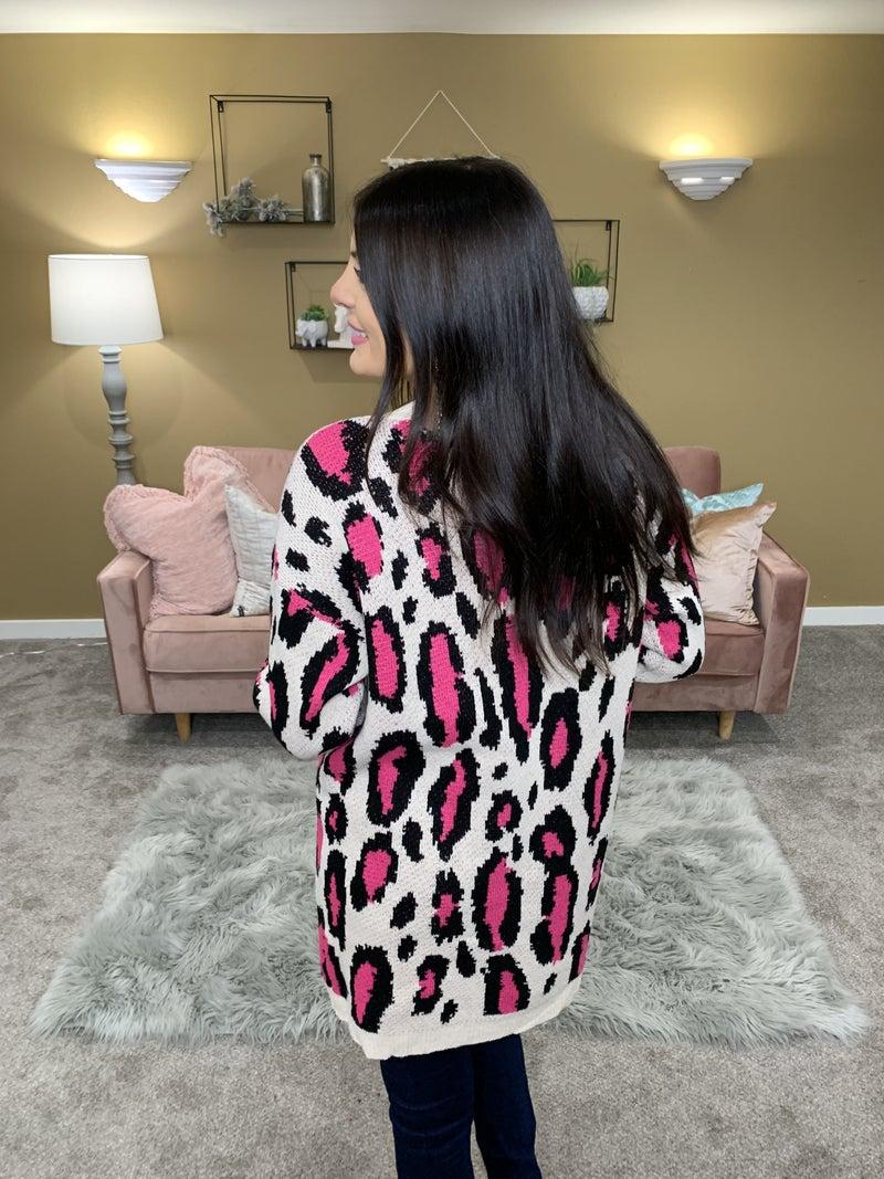 Chasing Dreams Pink Leopard Cardigan