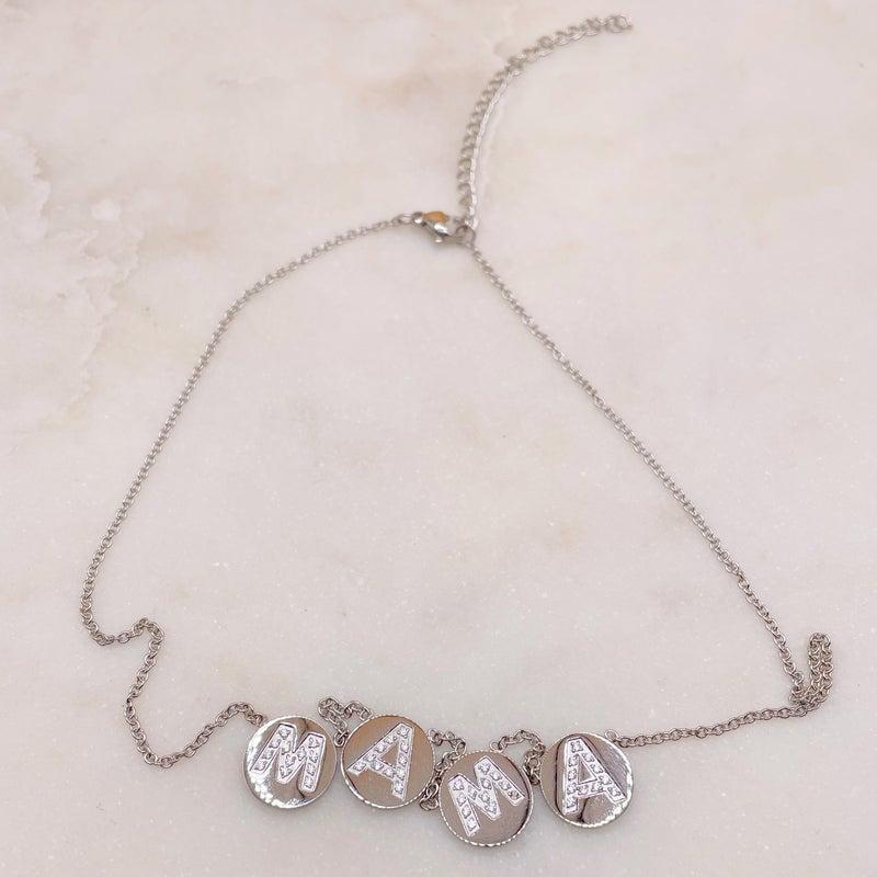 Oak & Ivy MAMA  Circle CZ Stone Necklace - (2 Colors)