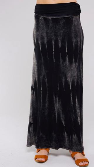 Mineral wash foldover Maxi Skirt