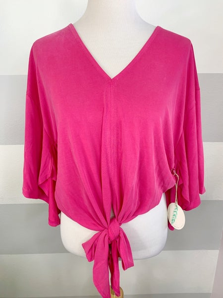 Front Tie Cropped Cupro Top