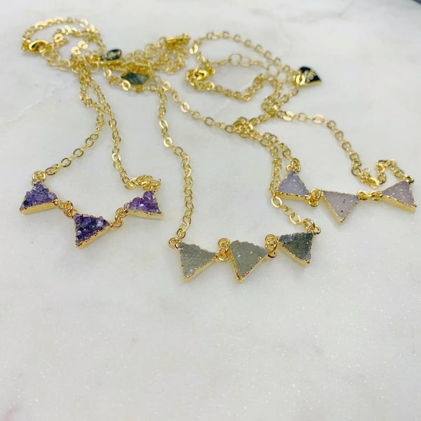 Love Poppy Three Tier Triangle Necklace- Gold (3 Colors)