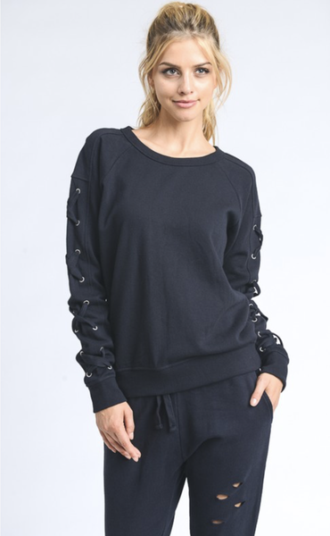 In The Mix Lace-Sleeve Fleece Sweater