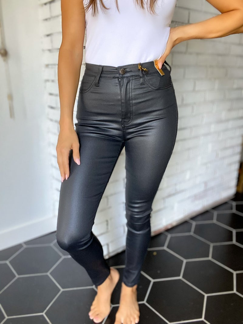 Out On The Town Coated Black Skinny Jeans!