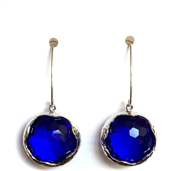Cobalt/Silver Shine Bright Drop Gem Earrings
