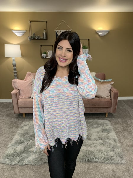 POL Made Of Light Raw Edge Sweater
