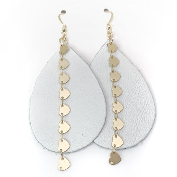 White And Gold Heart Leather & Chains Earrings
