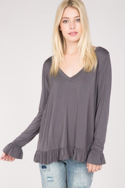 V-neck top with ruffle seams
