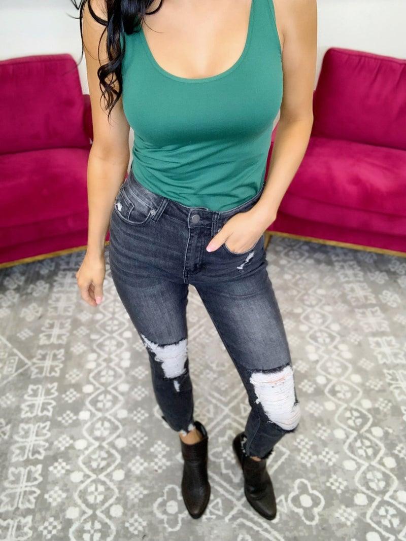 Risen To The Test Distressed Raw Hem Skinny Jeans Grey