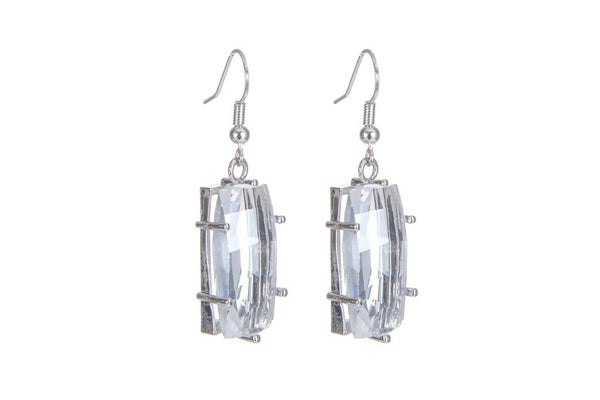 Melania Clara Clara Earrings Silver- Clear