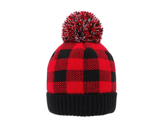 Pudu Red Buffalo Plaid Beanie - Kids