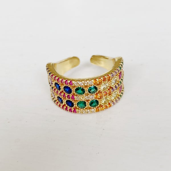 Multi-Colored Double Stone Ring