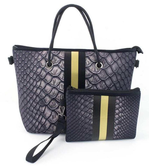 Peace Love Crocodile Gold Stripe Mini Tote Bag