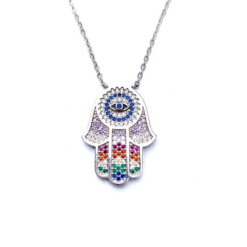 Hespera Rainbow Sapphire Hamsa - Silver