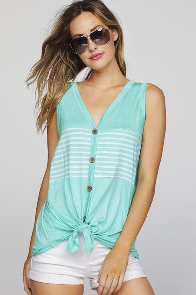 SLEEVELESS STRIPE PANELED BUTTONED FRONT TOP
