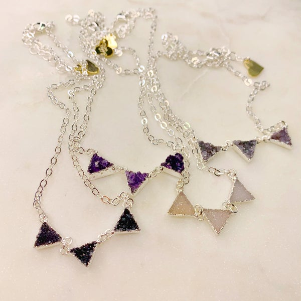 Love Poppy Three Tier Triangle Necklace- Silver (4 Colors)
