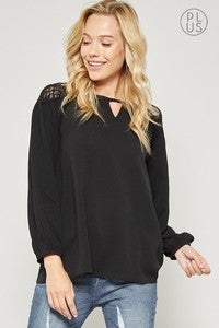 Lace Shoulder Balloon Sleeve