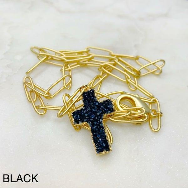 Love Poppy Druzy Y Cross Necklace - Gold ( 5 Colors)