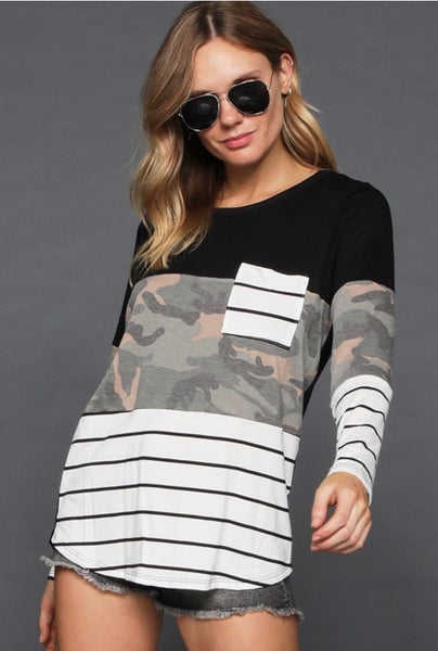 Mix And Match Color Block Camo Top