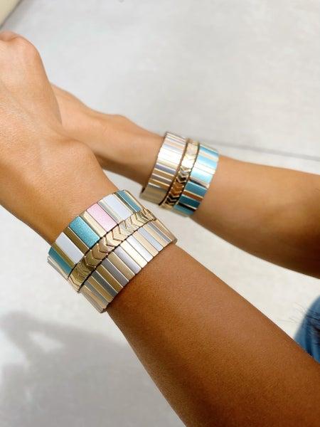 By Alexa Rae Kameron Domino Bracelet Set Metallic - 5 Colors!