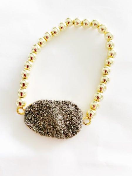 The Boca Hematite/Druzy Bracelet