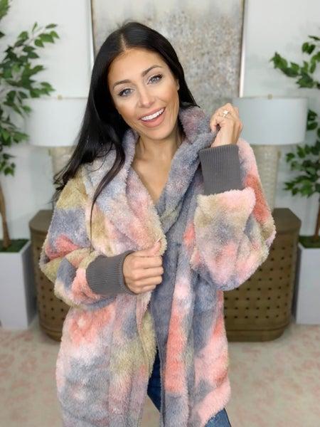Fur Real Hooded Open Jacket