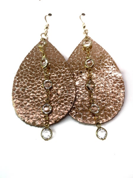 Rose Gold Crackle Leather & Chains Earrings