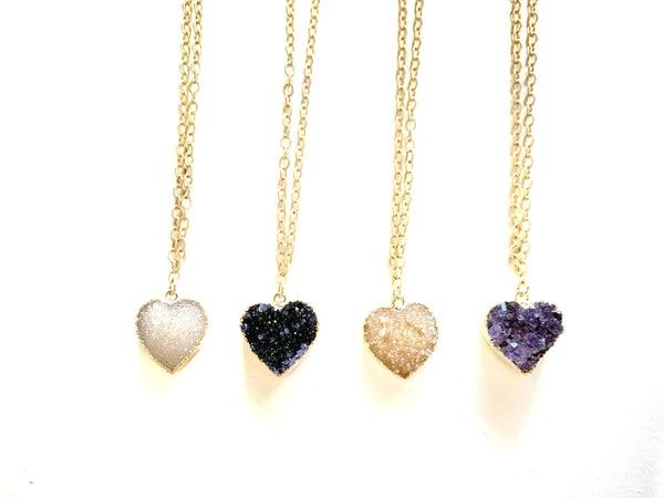 Love Poppy Druzy Heart Necklace - Gold