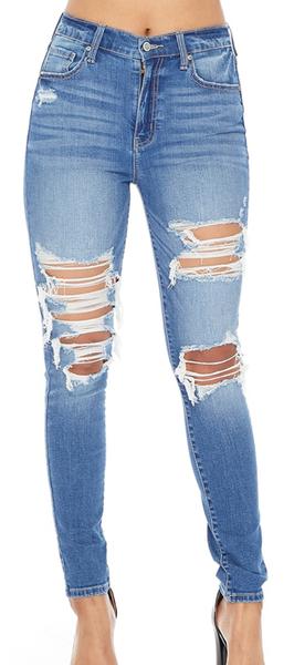 Eunina Bella High Rise Distressed Skinny Jeans
