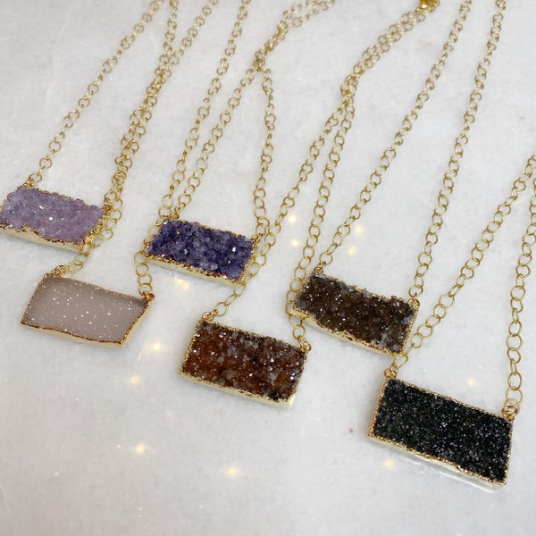 Large Druzy Bar + Gold Bubble Chain