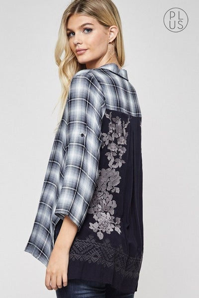 *PLUS ONLY* Plaid Button Down W/ Embroidery